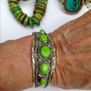 Jewelry - Taxco silver bracelet with lime green cabochons!